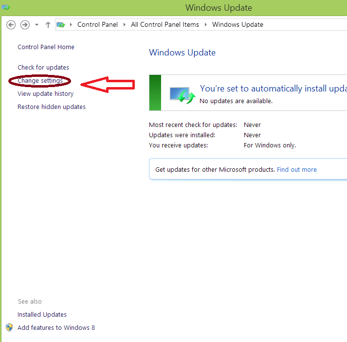 Block automatic updates windows 8