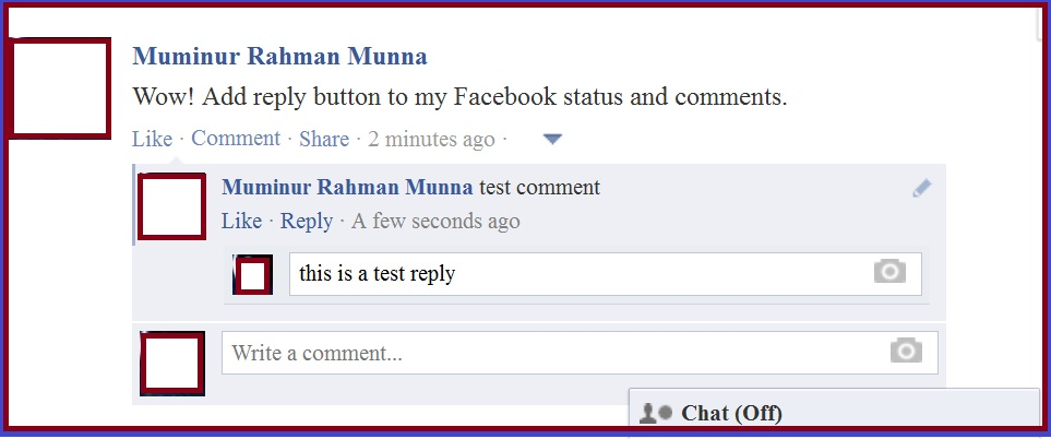 Add REPLY button to your Facebook Status and comments 3