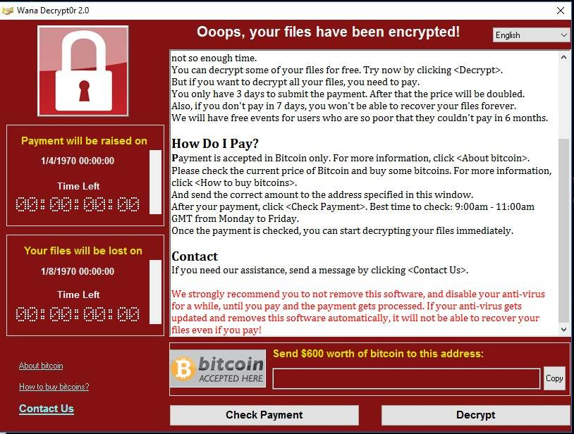 wannacry ransomware ransom page